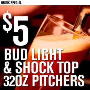5 Bud Shock Top Pitchers LARGE